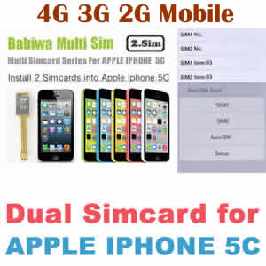Dual Sim Card Adapter for Apple IPHONE 5C BW-AGL-5C