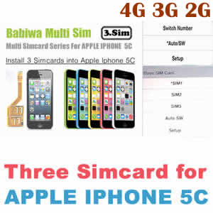 Triple Sim Card Adapter for Apple IPHONE 5C BW-MGL-5C