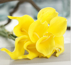 Artificial Flower Calla Lily ,Pure Yellow ,High quality Latex ,A bunch with 10 heads ,Free Shipping to worldwide area. Momda recommended trustworthy Supplier.