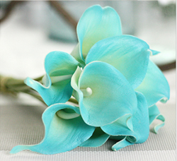 Artificial Flower Calla Lily ,Sapphire Blue ,High quality Latex ,A bunch with 10 heads ,Free Shipping to worldwide area. Momda recommended trustworthy Supplier.