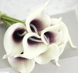 Artificial Flower Calla Lily ,White with Purple ,High quality Latex ,A bunch with 10 heads ,Free Shipping to worldwide area. Momda recommended trustworthy Supplier.