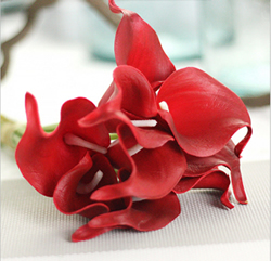 Artificial Flower Calla Lily ,Bright Red ,High quality Latex ,A bunch with 10 heads ,Free Shipping to worldwide area. Momda recommended trustworthy Supplier.