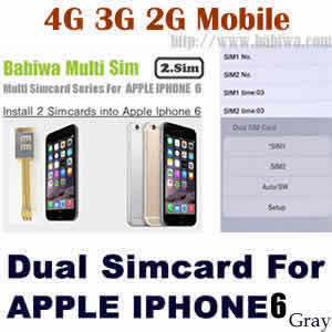 Babiwa series Dual Sim Card Adapter for Apple IPHONE 6 Space Gray BW-AGL-06H gray