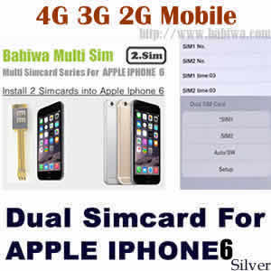 Babiwa series Dual Sim Card Adapter for Apple IPHONE 6 Silver BW-AGL-06H silver