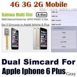 Babiwa series Dual Sim Card Adapter for Apple IPHONE 6 Plus Space Gray BW-AGL-61H gray