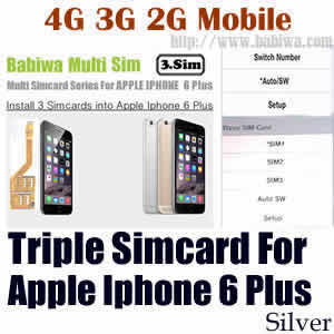 Babiwa series Triple Sim Card Adapter for Apple IPHONE 6 Plus Silver BW-MGL-61H silver