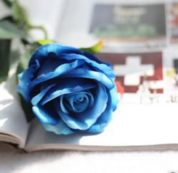 Artificial Flower Rose ,BLUE ,High quality Velvet ,A bunch with 10 heads ,Free Shipping to worldwide area. Momda recommended trustworthy Supplier.
