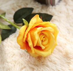 Artificial Flower Rose ,Orange Yellow ,High quality Velvet ,A bunch with 10 heads ,Free Shipping to worldwide area. Momda recommended trustworthy Supplier.