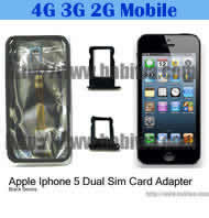 Dual Sim Card Adapter for Apple IPHONE 5 Black BW-AGL-5 BLACK