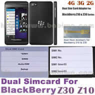 BW-2BZ-05 .Dual Sim Card Adapter for Universal Blackberry Z10 and Z30 Series Phone, Two Simcards Holder .Support 4G HSDPA 3G WCDMA 2G GSM