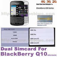 BW-2BQ-05 .Dual Sim Card Adapter for Universal Blackberry Q10 Series Phone, Two Simcards Holder .Support 4G HSDPA 3G WCDMA 2G GSM