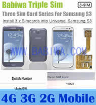 Babiwa Series Triple Sim Card Adapter for Samsung Galaxy S3 SIII I9300 I747 - Install 3 sim cards into Samsung Galaxy S3 SIII I9300 I747