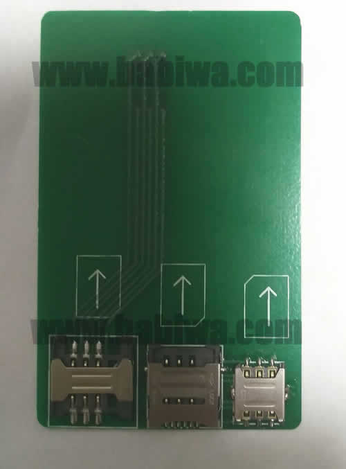 Babiwa Simcard Product No. 1M-01  . PCB based Micro-Simcard Connector . also named as Universally Standarded Micro-simcard Connector Soldered on PCB board. Micro Simcard Jack on PCB board,Micro-Simcard Slot soldered on PCB,MicroSimcard Socket on PCB,Micro Simcard Holder soldered on PCB etc. samples free shipping to worldwide area.