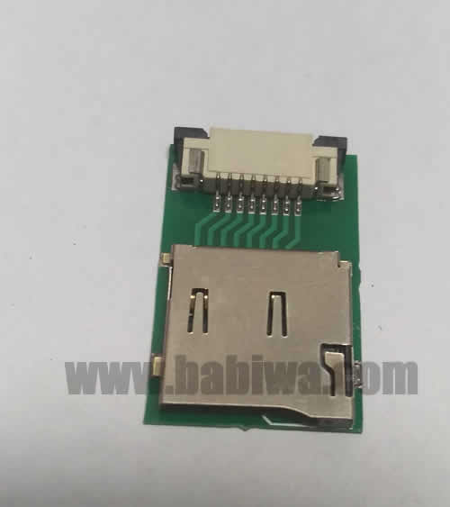 Babiwa Memorycard Product No. 1T-01 . PCB based Micro-SD memorycard Connector . also named as Universally Standarded Micro-SD memorycard Connector Soldered on PCB board. MicroSD card Jack on PCB board,Micro SD Memorycard Slot soldered on PCB,Micro SD Socket on PCB,TF memorycard Holder soldered on PCB etc. Support Any devices (brands,models) using univesal Micro-SD memorycard.Samples Free shipping to worldwide area.Support Largeamount Wholesale & Bulkorder & Customized&DIY order .