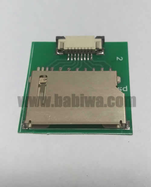 Babiwa Memorycard Product No. 1S-01 .10 pieces of PCB based SD memorycard Connector . also named as Universally Standarded SD memorycard Connector Soldered on PCB board. SD card Jack on PCB board,SD Memorycard Slot soldered on PCB,SD Socket on PCB,SD memorycard Holder soldered on PCB etc. Support Any devices (brands,models) using univesal SD memorycard.Samples Free shipping to worldwide area.Support Largeamount Wholesale & Bulkorder & Customized&DIY order .