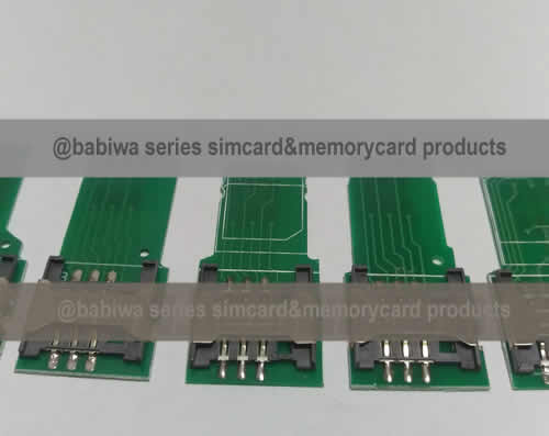 Babiwa Simcard Product No. 1D-01  .10 pieces of PCB based Mini-Simcard Connector . also named as Universally Standarded Mini-simcard Connector Soldered on PCB board. Simcard Jack on PCB board,Simcard Slot soldered on PCB,Simcard Socket on PCB,Simcard Holder soldered on PCB etc. samples free shipping to worldwide area.