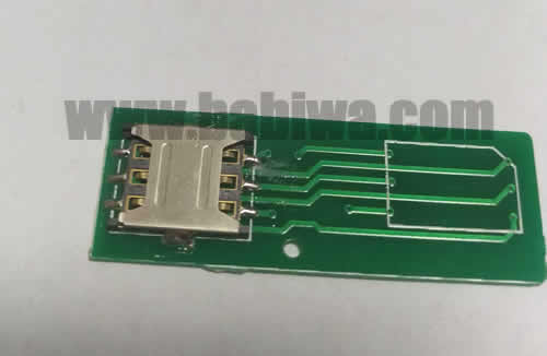 Babiwa Simcard Product No. 1N-01  . PCB based Nano-Simcard Connector . also named as Universally Standarded Nano-Simcard Connector Soldered on PCB board. Nano Simcard Jack on PCB board,Nano-Simcard Slot soldered on PCB,NanoSimcard Socket on PCB,Nano Simcard Holder soldered on PCB etc. samples free shipping to worldwide area.