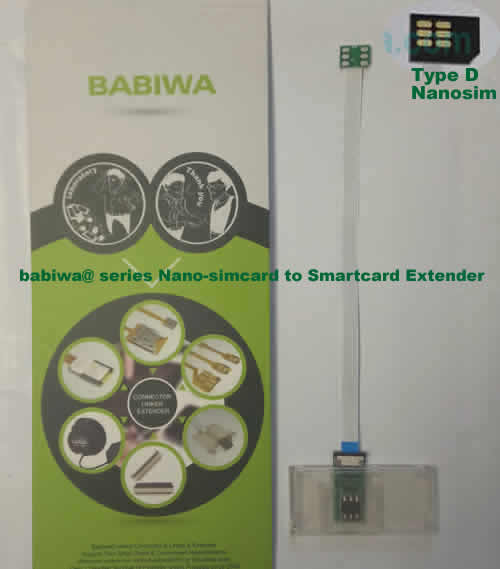 Babiwa@ No.33D Universal Nano-simcard to Smartcard(Big-simcard) Extension Cable.Support Any devices (brands,models) using Nano simcard in Type D Bevel Direction.also called Smartcard tester on Nano-simcard holder, Nano Simcard to Smartcard Extension Cable, Nano Simcard to Smartcard Extender, Nano Simcard Connector to Smartcard Extender .Universal Nano Simcard Jack to Smartcard Linker,Extender of Nano Simcard Slot to Bigcard,Linker of Nano Simcard Socket to Smartcard Holder,Extender for Nano Simcard Holder to Bigcard.(Free Shipping via Trackable Registered Airmail to Worldwide Area WWW.BABIWA.COM)
