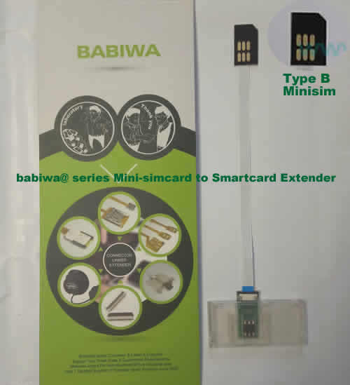 Babiwa@ No.35B Universal Mini-simcard to Smartcard(Big-simcard) Extension Cable.Support Any devices (brands,models) using Mini simcard in Type B Bevel Direction.also called Smartcard tester on Mini-simcard holder, Mini Simcard to Smartcard Extension Cable, Mini Simcard to Smartcard Extender, Mini Simcard Connector to Smartcard Extender .Universal Mini Simcard Jack to Smartcard Linker,Extender of Mini Simcard Slot to Bigcard,Linker of Mini Simcard Socket to Smartcard Holder,Extender for Mini Simcard Holder to Bigcard.(Free Shipping via Trackable Registered Airmail to Worldwide Area WWW.BABIWA.COM)