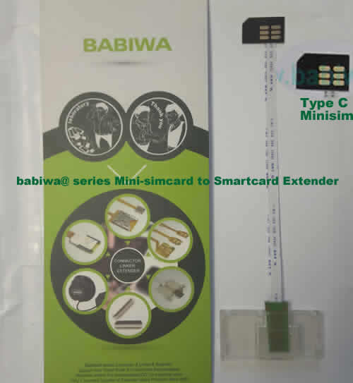 Babiwa@ No.35C Universal Mini-simcard to Smartcard(Big-simcard) Extension Cable.Support Any devices (brands,models) using Mini simcard in Type C Bevel Direction.also called Smartcard tester on Mini-simcard holder, Mini Simcard to Smartcard Extension Cable, Mini Simcard to Smartcard Extender, Mini Simcard Connector to Smartcard Extender .Universal Mini Simcard Jack to Smartcard Linker,Extender of Mini Simcard Slot to Bigcard,Linker of Mini Simcard Socket to Smartcard Holder,Extender for Mini Simcard Holder to Bigcard.(Free Shipping via Trackable Registered Airmail to Worldwide Area WWW.BABIWA.COM)