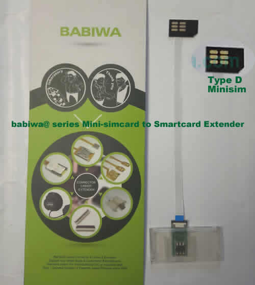Babiwa@ No.35D Universal Mini-simcard to Smartcard(Big-simcard) Extension Cable.Support Any devices (brands,models) using Mini simcard in Type D Bevel Direction.also called Smartcard tester on Mini-simcard holder, Mini Simcard to Smartcard Extension Cable, Mini Simcard to Smartcard Extender, Mini Simcard Connector to Smartcard Extender .Universal Mini Simcard Jack to Smartcard Linker,Extender of Mini Simcard Slot to Bigcard,Linker of Mini Simcard Socket to Smartcard Holder,Extender for Mini Simcard Holder to Bigcard.(Free Shipping via Trackable Registered Airmail to Worldwide Area WWW.BABIWA.COM)
