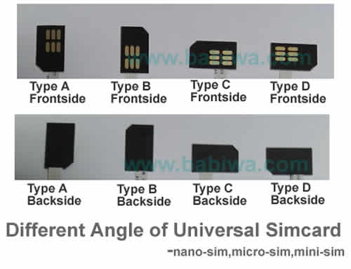 different bevel direction of universal simcard -www.babiwa.com