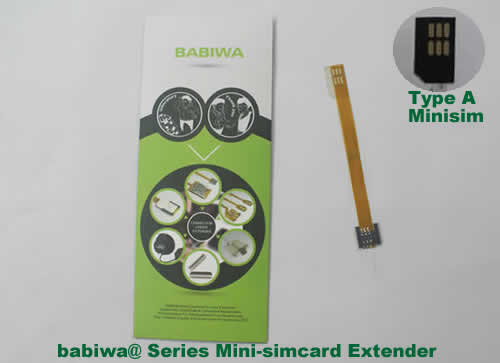 Babiwa@ No.1 Universal Mini-simcard to Minisimcard (microsimcard,nanosimcard) Extension Cable.Support Any devices (brands,models) using Mini simcard in Type A Bevel Direction.also called Mini Simcard Extension Cable,Mini Simcard Linker,Mini Simcard Connector Extender.Universal Mini Simcard Jack Extension Cable,Extender of Mini Simcard Slot,Linker of Mini Simcard Socket,Extender for Mini Simcard Holder.(Free Shipping via Trackable Registered Airmail to Worldwide Area WWW.BABIWA.COM)
