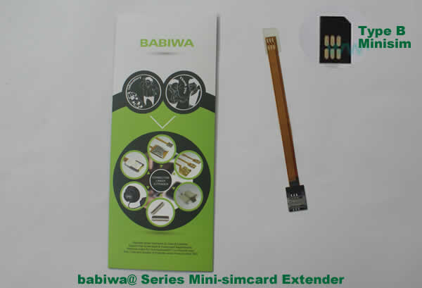 Babiwa@ No.12 Universal Mini-simcard to Minisimcard (microsimcard,nanosimcard) Extension Cable.Support Any devices (brands,models) using Mini simcard in Type B Bevel Direction.also called Mini Simcard Extension Cable,Mini Simcard Linker,Mini Simcard Connector Extender.Universal Mini Simcard Jack Extension Cable,Extender of Mini Simcard Slot,Linker of Mini Simcard Socket,Extender for Mini Simcard Holder.(Free Shipping via Trackable Registered Airmail to Worldwide Area WWW.BABIWA.COM)