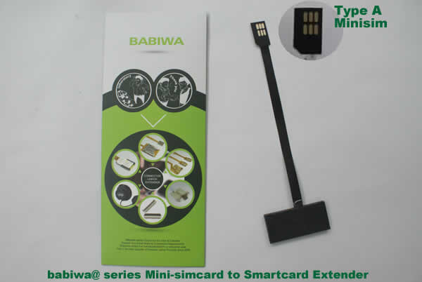 Babiwa@ No.3 Universal Mini-simcard to Smartcard(Big-simcard) Extension Cable.Support Any devices (brands,models) using Mini simcard in Type A Bevel Direction.also called Smartcard tester on Mini-simcard holder, Mini Simcard to Smartcard Extension Cable, Mini Simcard to Smartcard Extender, Mini Simcard Connector to Smartcard Extender .Universal Mini Simcard Jack to Smartcard Linker,Extender of Mini Simcard Slot to Bigcard,Linker of Mini Simcard Socket to Smartcard Holder,Extender for Mini Simcard Holder to Bigcard.(Free Shipping via Trackable Registered Airmail to Worldwide Area WWW.BABIWA.COM)