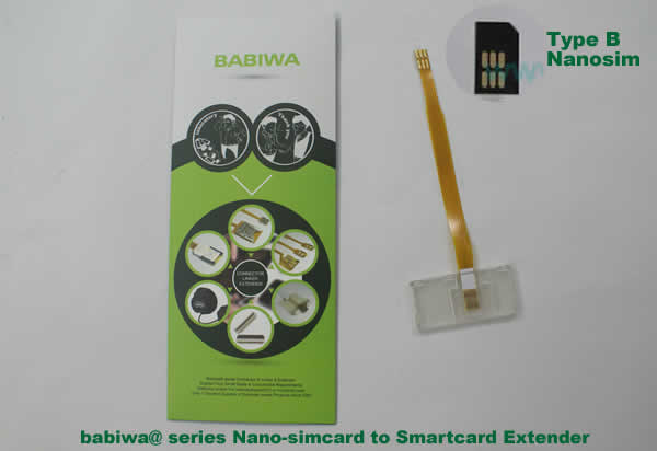 Babiwa@ No.3Z Universal Nano-simcard to Smartcard(Big-simcard) Extension Cable.Support Any devices (brands,models) using Nano simcard in Type B Bevel Direction.also called Smartcard tester on Nano-simcard holder, Nano Simcard to Smartcard Extension Cable, Nano Simcard to Smartcard Extender, Nano Simcard Connector to Smartcard Extender .Universal Nano Simcard Jack to Smartcard Linker,Extender of Nano Simcard Slot to Bigcard,Linker of Nano Simcard Socket to Smartcard Holder,Extender for Nano Simcard Holder to Bigcard.(Free Shipping via Trackable Registered Airmail to Worldwide Area WWW.BABIWA.COM)