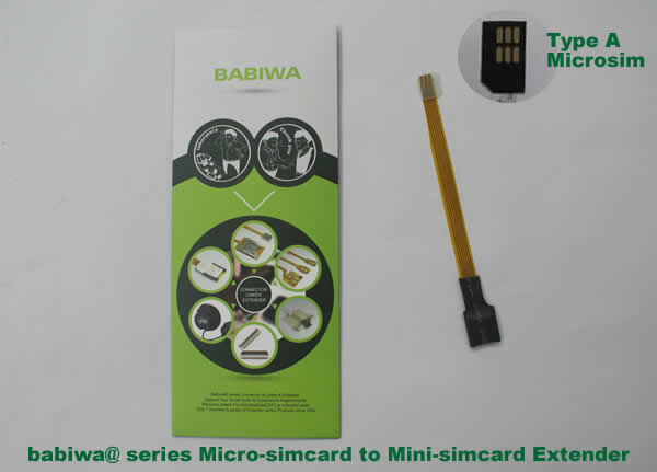 Babiwa@ No.9 Universal Micro-simcard to Minisimcard(microsimcard,nanosimcard) Extension Cable.Support Any devices (brands,models) using Micro simcard in Type A Bevel Direction.also called Micro Simcard Extension Cable,Micro Simcard Linker,Micro Simcard Connector Extender.Universal Micro Simcard Jack Extension Cable,Extender of Micro Simcard Slot,Linker of Micro Simcard Socket,Extender for Micro Simcard Holder.(Free Shipping via Trackable Registered Airmail to Worldwide Area WWW.BABIWA.COM)