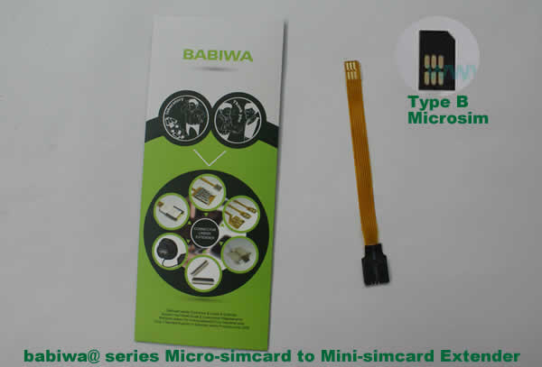 Babiwa@ No.9H Universal Micro-simcard to Minisimcard(microsimcard,nanosimcard) Extension Cable.Support Any devices (brands,models) using Micro simcard in Type B Bevel Direction.also called Micro Simcard Extension Cable,Micro Simcard Linker,Micro Simcard Connector Extender.Universal Micro Simcard Jack Extension Cable,Extender of Micro Simcard Slot,Linker of Micro Simcard Socket,Extender for Micro Simcard Holder.(Free Shipping via Trackable Registered Airmail to Worldwide Area WWW.BABIWA.COM)