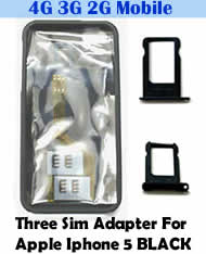Babiwa Series Triple Sim Card Adapter for Apple IPHONE 5 BLACK - Install 3 sim cards into Apple IPHONE 5 BLACK