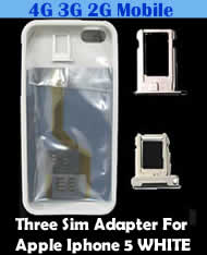 Babiwa Series Triple Sim Card Adapter for Apple IPHONE 5 WHITE - Install 3 sim cards into Apple IPHONE 5 WHITE