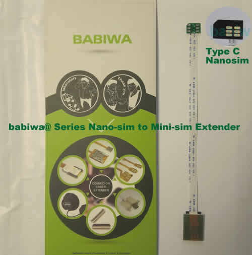 Babiwa@ No.30C Universal Nano-simcard to Minisimcard(microsimcard,nanosimcard) Extension Cable.Support Any devices (brands,models) using Nano simcard in Type C Bevel Direction.also called Nano Simcard Extension Cable,Nano Simcard Linker,Nano Simcard Connector Extender.Universal Nano Simcard Jack Extension Cable,Extender of Nano Simcard Slot,Linker of Nano Simcard Socket,Extender for Nano Simcard Holder.(Free Shipping via Trackable Registered Airmail to Worldwide Area WWW.BABIWA.COM)