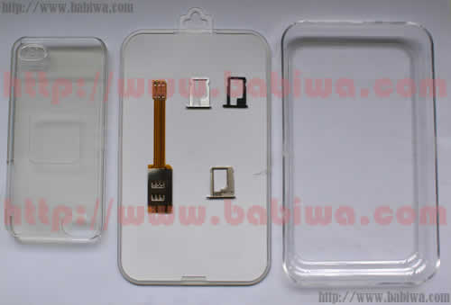 BW-AGL-5L Genuine Apple Iphone 5 Dual Sim Card Adapter Luxury Gift Version,with Specially Molded Nano-Sim Tray and Free Protective Case .Also Support Apple iphone 4/4s.