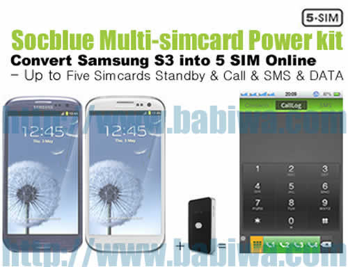 Product No.BT-5CD-05E . Babiwa Socblue series Five Simcards Bluebooth Magic card Turn Samsung S3 to 5 simcards 5 number online Quintuple Standby