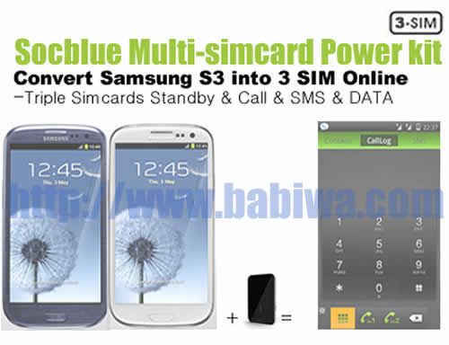 Product No.BT-3CD-05E . Babiwa Socblue series Triple Simcards Bluebooth Magic card Turn Samsung S3 to 3 sim 3 number online Triple Standby