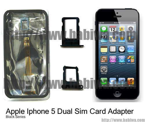 Genuine Apple Iphone 5 Dual Sim Card Adapter ,with Specially Molded Nano-Sim Tray and one Free Protective Case