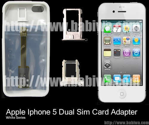 Genuine BW-AGL-5 BABIWA© Q series Apple Iphone 5 Dual Sim Card Adapter ,with Specially Molded Nano-Sim Tray and one Free Protective Case