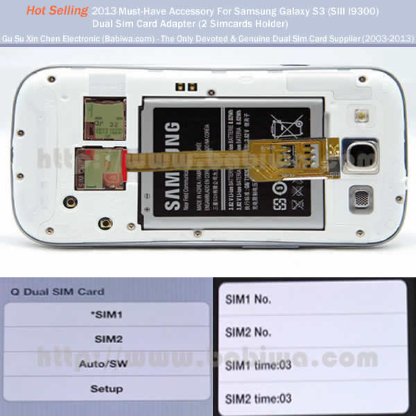 Genuine Babiwa Q series Dual Sim Adapter Holder for Samsung Galaxy S3 SIII I9300 I930X SGH I747 T999