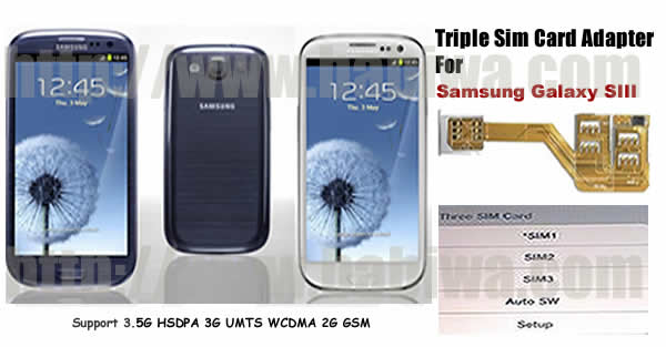 3 simcard for samsung s3 i747 genuine three triple sim card adapter