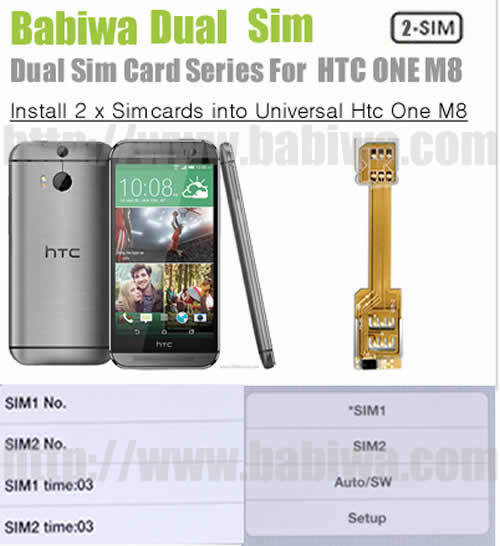 BW-AHM-05H  BABIWA© Q series - Genuine Dual Sim Card Adapter for NEW HTC ONE M8(All New HTC One,HTC All New