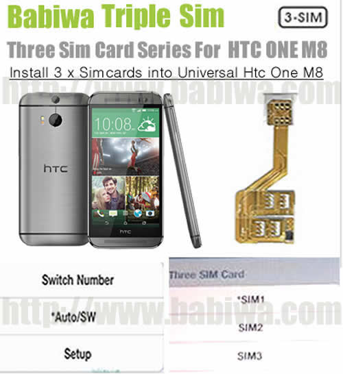 3 Simcard for New HTC ONE M8) Triple Sim Card Adapter for