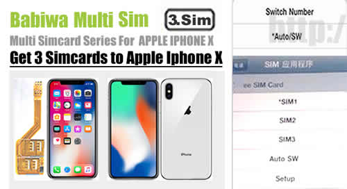 BW-MGL-10X : Genuine BABIWA© Q series Apple iphone X Triple Sim Card Adapter ,with Specially Molded Nano-Sim Tray(for the purpose of easy installation).Support Universal Apple iphone X,Iphone 10,Iphone ten,Apple A1865,Apple A1901 etc.Support 4g fdd-lte 3.5g hsdpa 3g umts wcdma 2g gsm gprs.