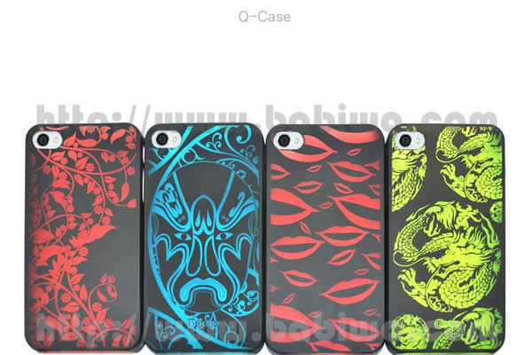 Genuine Q-Case High-Grade Protection Color Case for Apple Iphone 4 and 4s Leaf Series,Lip Series,Mask Series,Jade Series