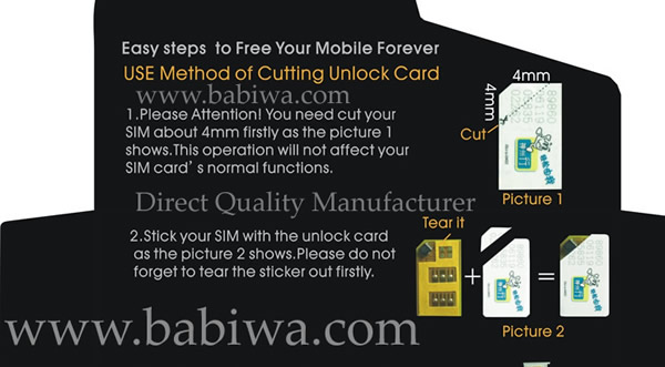 Installation Instruction for Cutting version of unlocking card