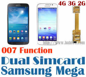 BW-N2M-02T  - Dual Sim Card Adapter for Samsung Galaxy Mega 6.3 ,Mega 5.8 ,I9200,I9150,I9152,SGH-I527 etc with 007 Dial Number to change simcard Function.