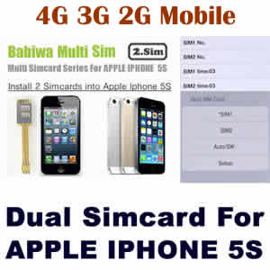 Dual Sim Card Adapter for Apple IPHONE 5S BW-AGL-5S