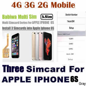 Babiwa series Genuine Apple Iphone 6S Gray Triple Sim Card Adapter ,Specially Molded gray Nano-Sim Tray (easy installation).Must-have Accessory for Apple Iphone 6S
